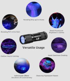 Mini UV ULTRA VIOLET 9 LED Flashlight Torch 4.5v